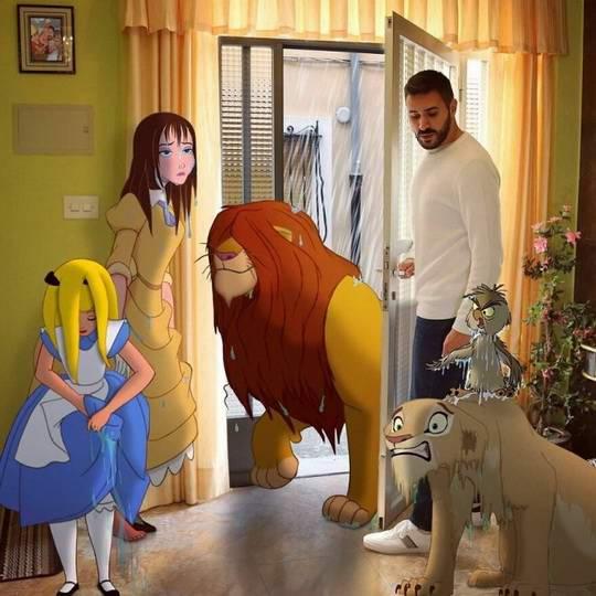 Самуэль МБ - художник, актер и учитель начальной школы, при помощи Photoshop, размещает культовых персонажей Диснея на своих фотографиях