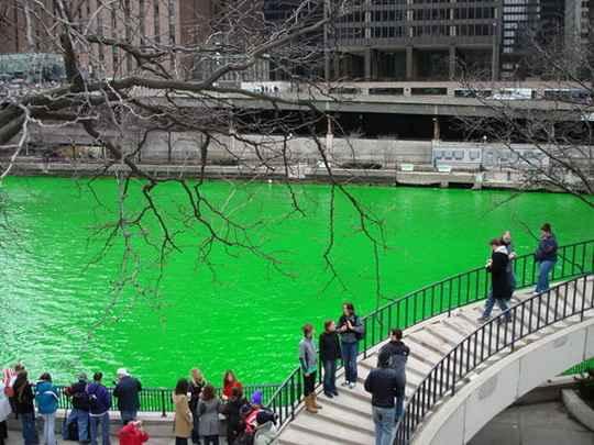 Каждый год в День святого Патрика или в предшествующую ему субботу река Чикаго окрашивается в зелёный цвет.